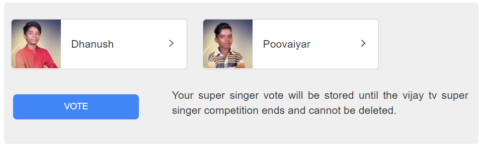 super singer vote Nominated persons